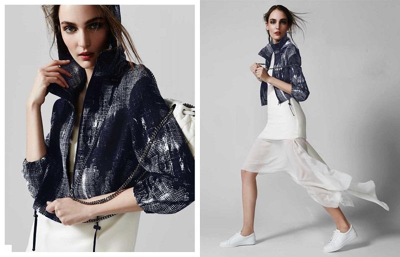 Akris Rectangle-Paneled Tulle-Inset Dress