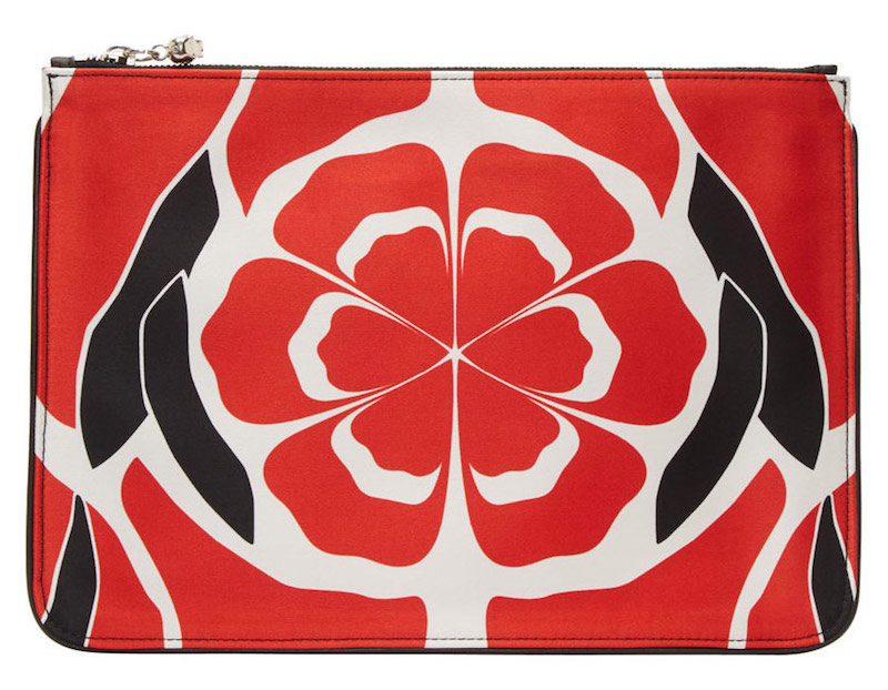 Alexander McQueen Flame Red Floral Matisse Print Zip Pouch