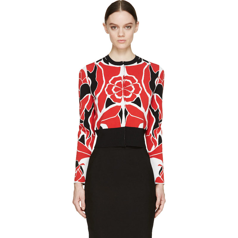 Alexander McQueen Red Matisse Print Cropped Cardigan