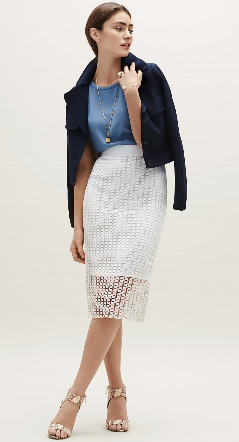 Ann Taylor Graphic Lace Pencil Skirt
