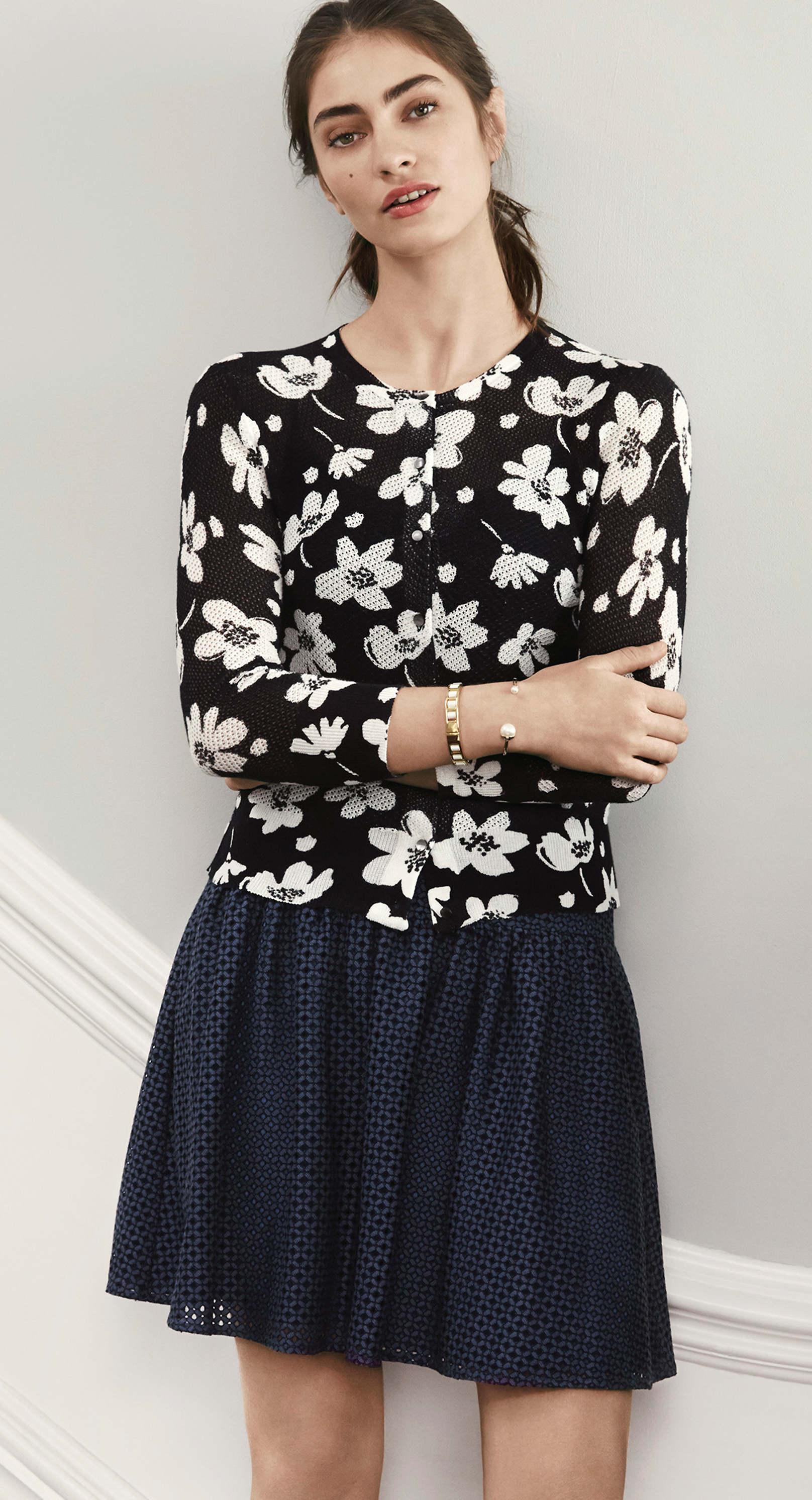 Ann Taylor Mesh Floral Ann Cardigan