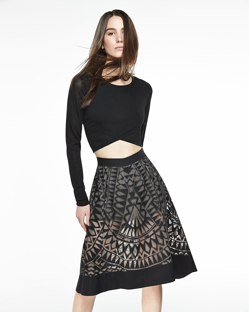 BCBGMAXAZRIA Keary Burnout-Pattern Pleated Skirt
