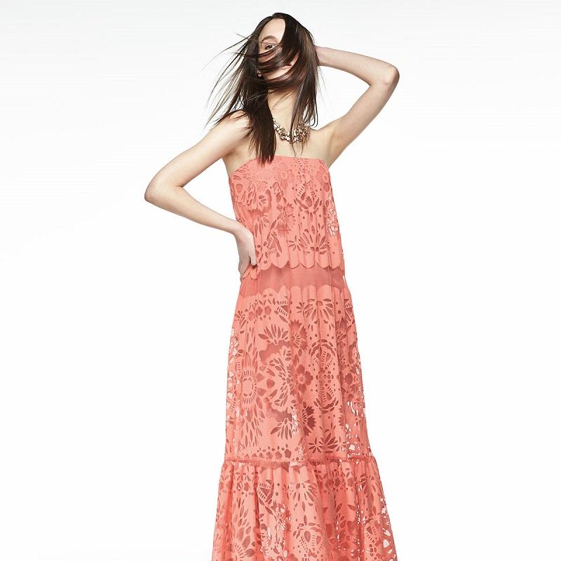 BCBGMAXAZRIA Melanni Tiered Lace Maxi Dress