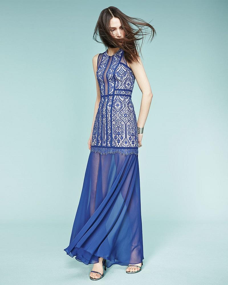 BCBGMAXAZRIA Sleeveless Beaded Mermaid Gown