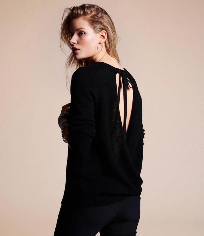Barneys New York Surplice-Back Sweater