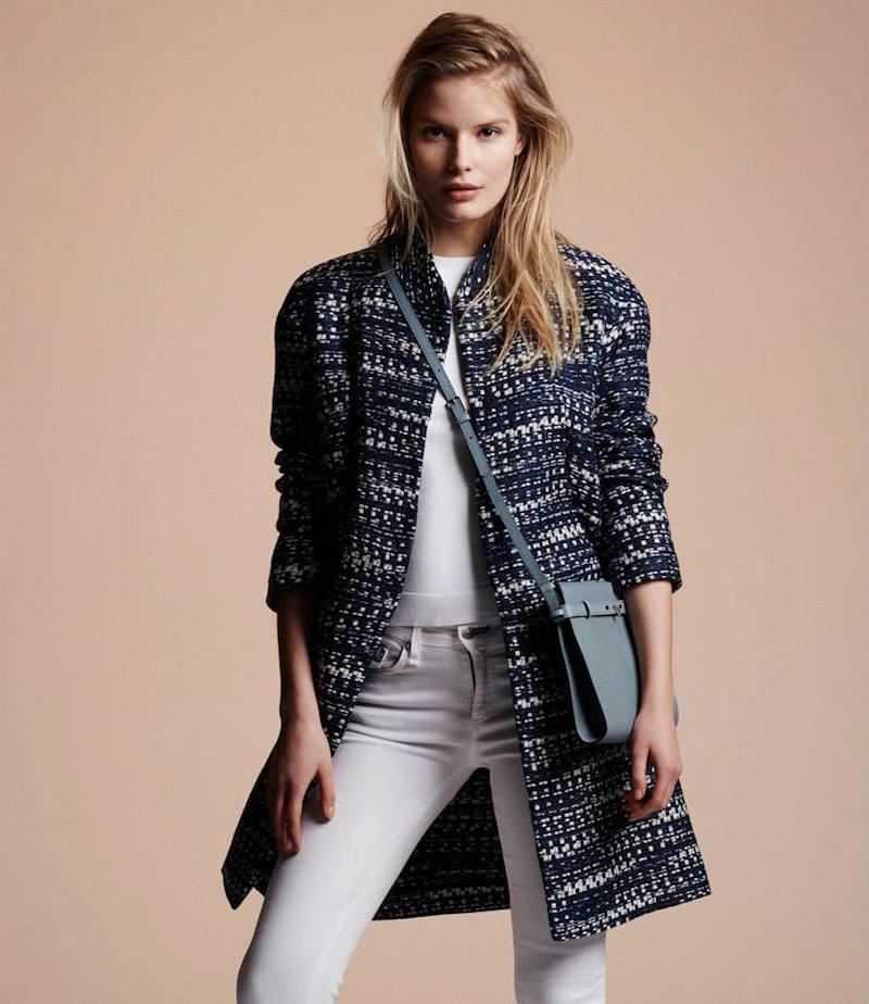 Barneys New York Tweed Belted Jacket