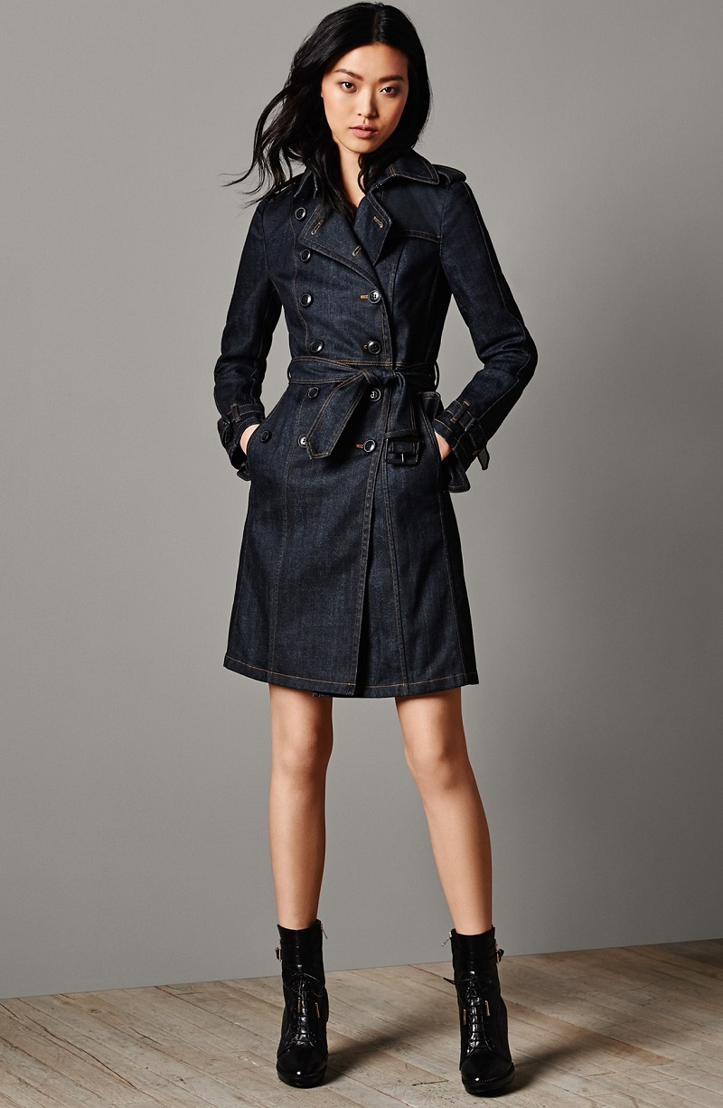 Burberry Brit 'Bramdale' Denim Trench Coat