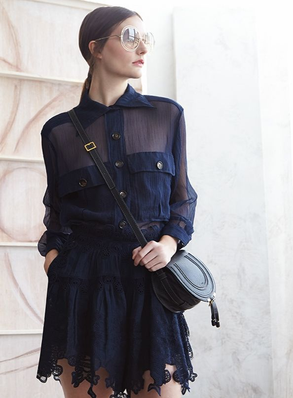 Chloé Sheer Paneled Button-Front Blouse