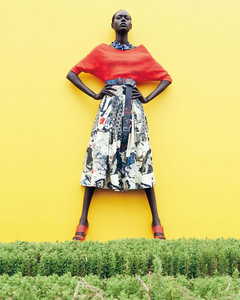 Donna Karan Street Art Printed Pleated Skirt