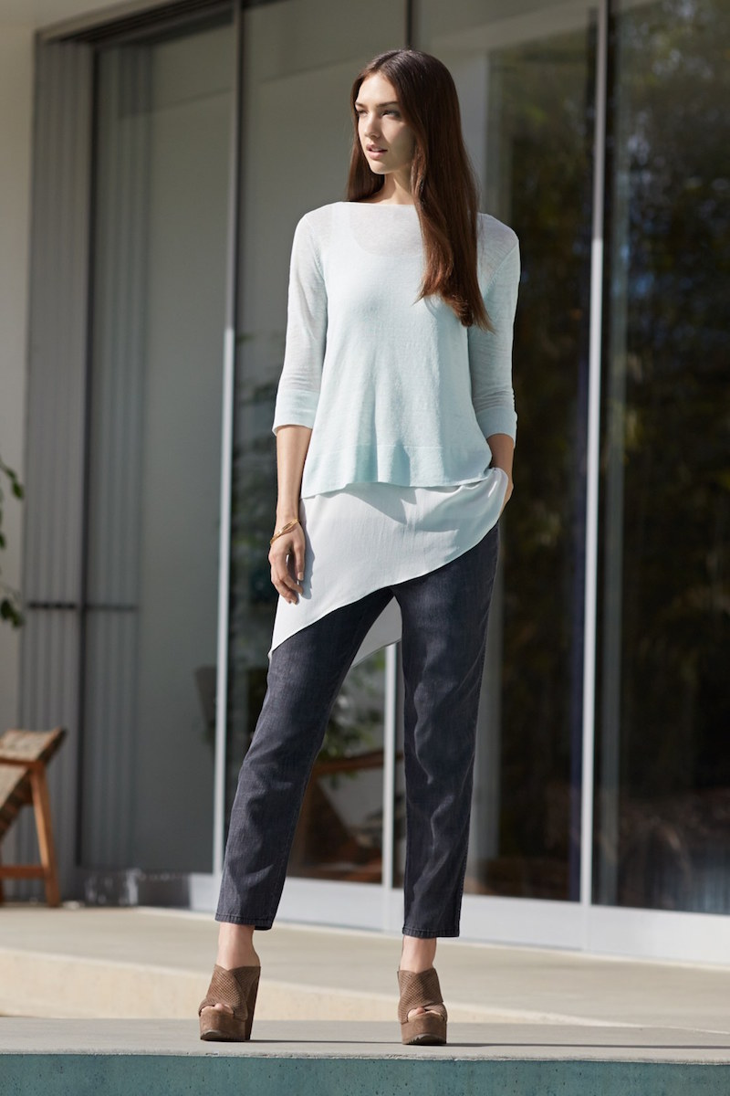 Eileen Fisher Linen Blend Boxy Layering Sweater