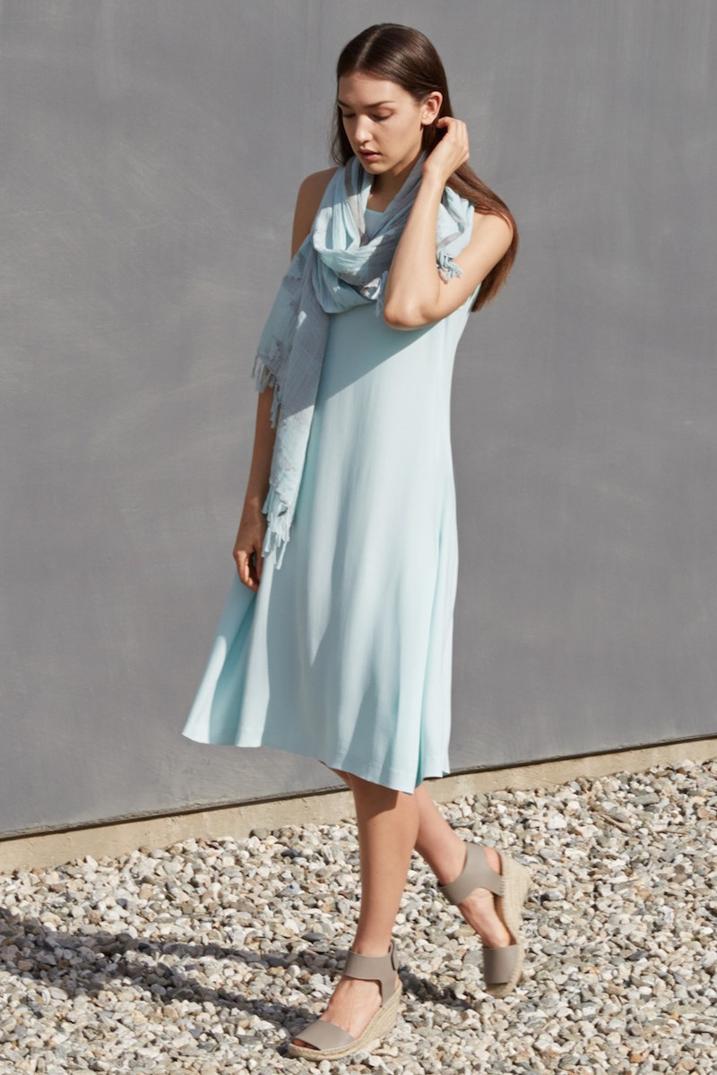 Eileen Fisher Silk Ballet Neck Shift Dress
