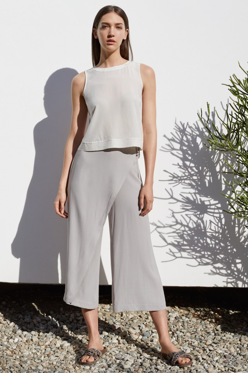 Eileen Fisher Wrap Front Wide Leg Silk Crop Pants