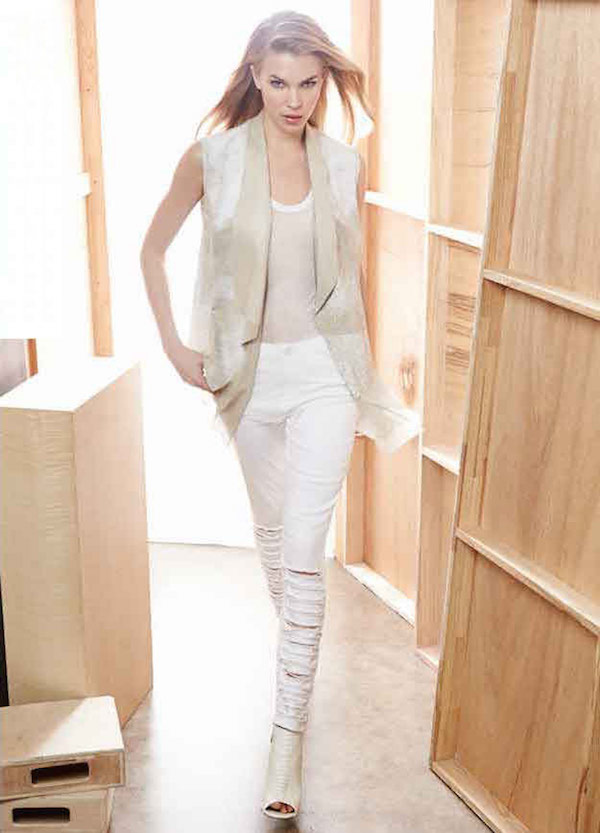 Elie Tahari Betsy Leather Draped Hanky Hem Vest