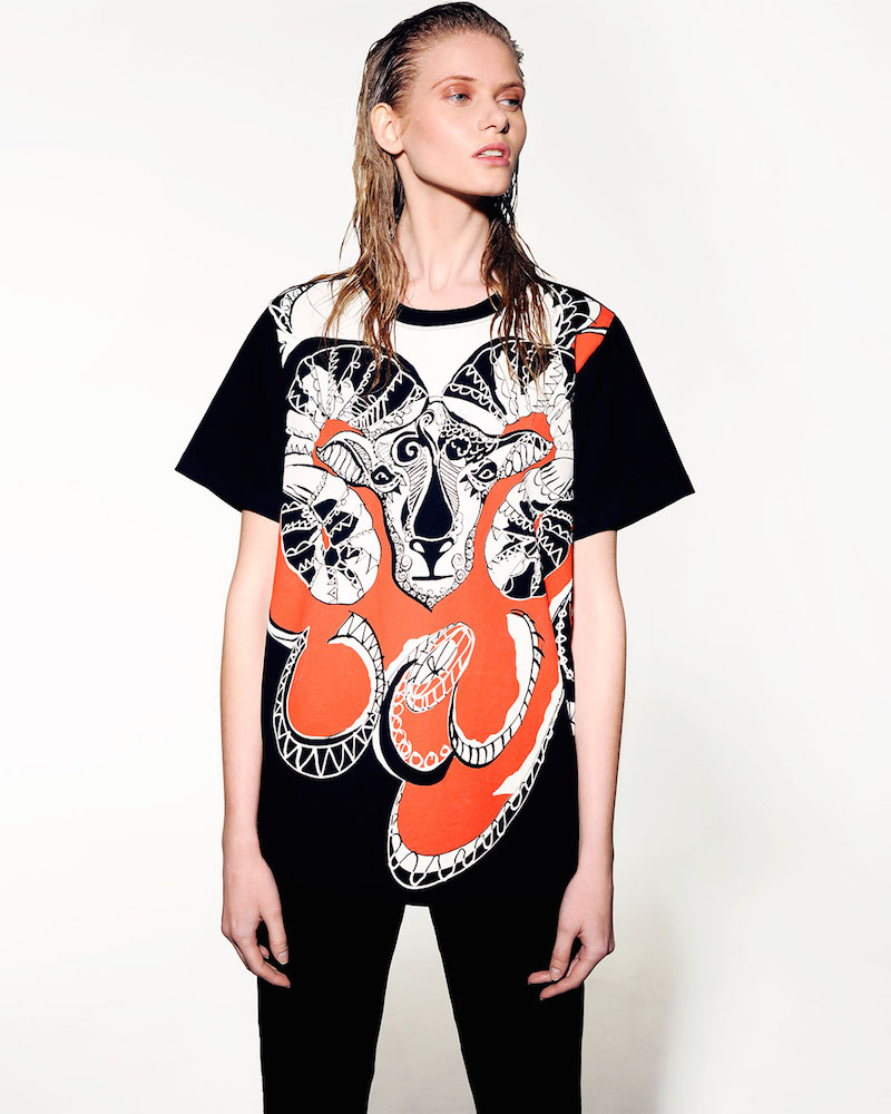 Emilio Pucci Aries Graphic-Print Sheer-Back T-Shirt
