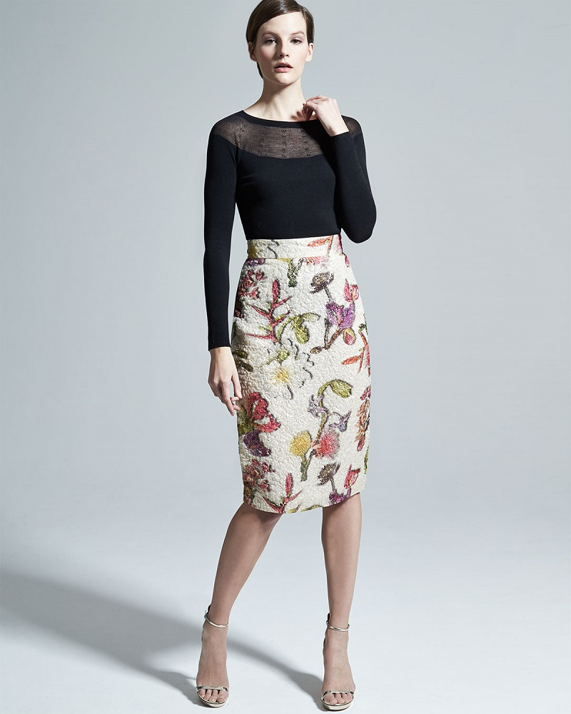 Escada Floral-Jacquard Pencil Skirt