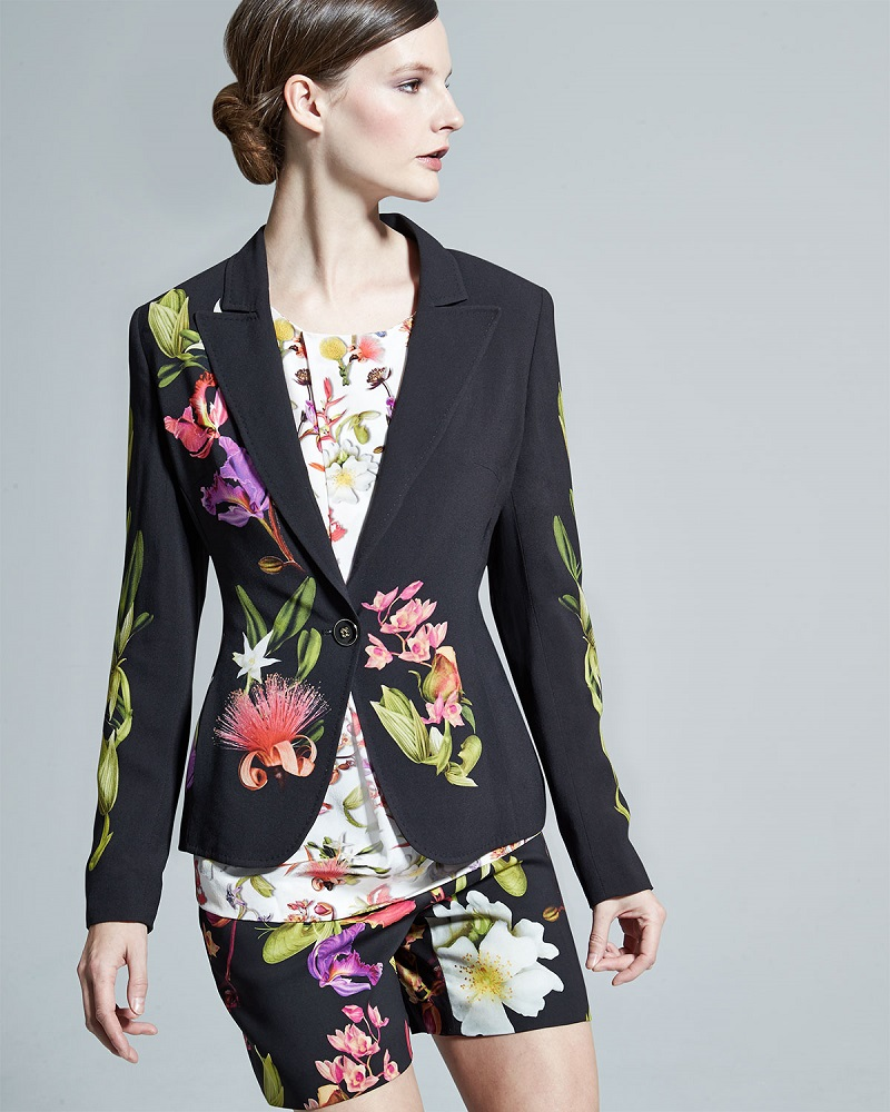 Escada One-Button Floral Blazer