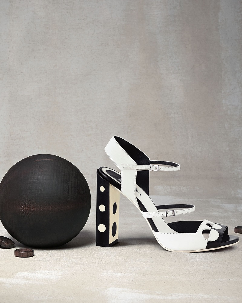 Fendi Bicolor Leather Polka-Dot Sandal