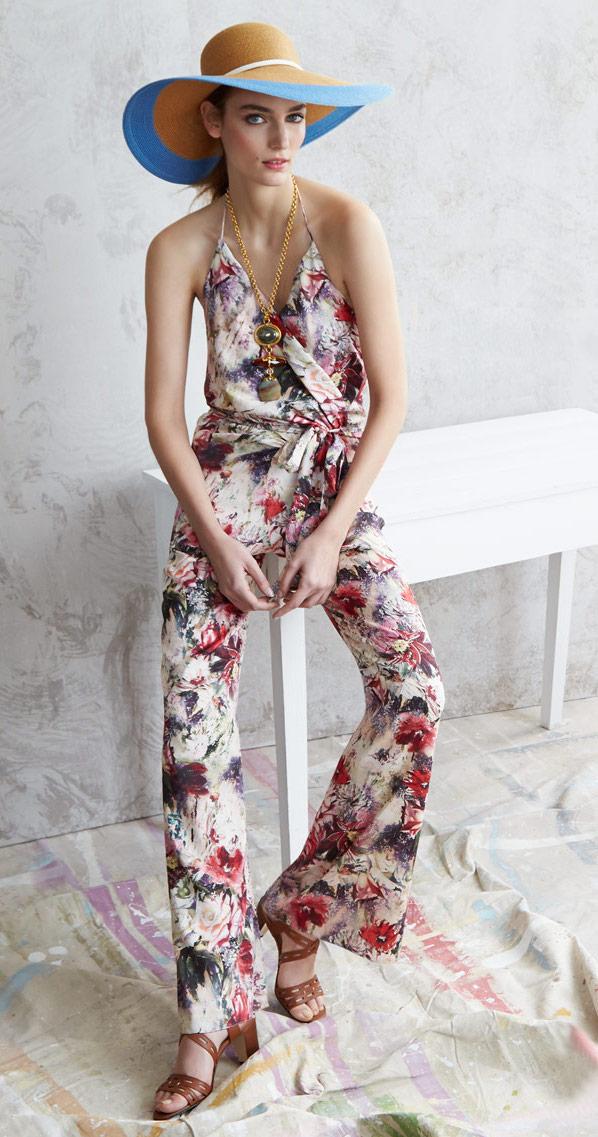 Haute Hippie Cross-Front Floral-Print Jumpsuit