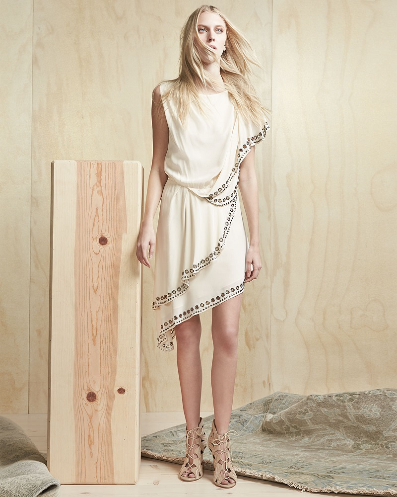 Haute Hippie GrommetNailhead-Trim Asymmetric Dress