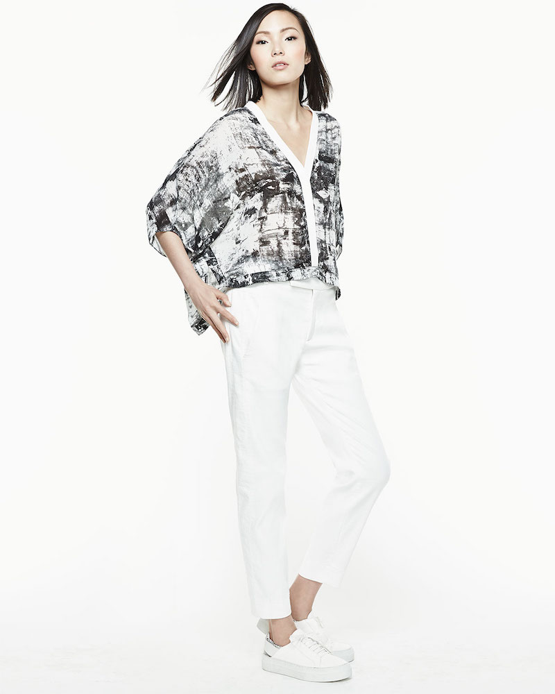 Helmut Lang Printed Lightweight Cropped Blouse