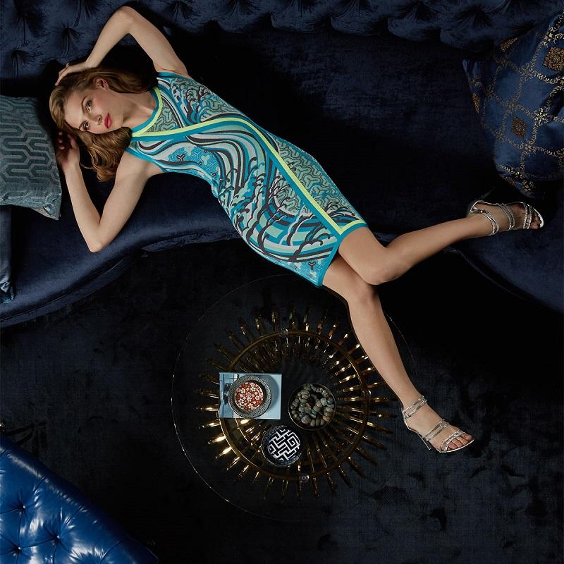 Herve Leger Akio Tidal Wave Jacquard Dress