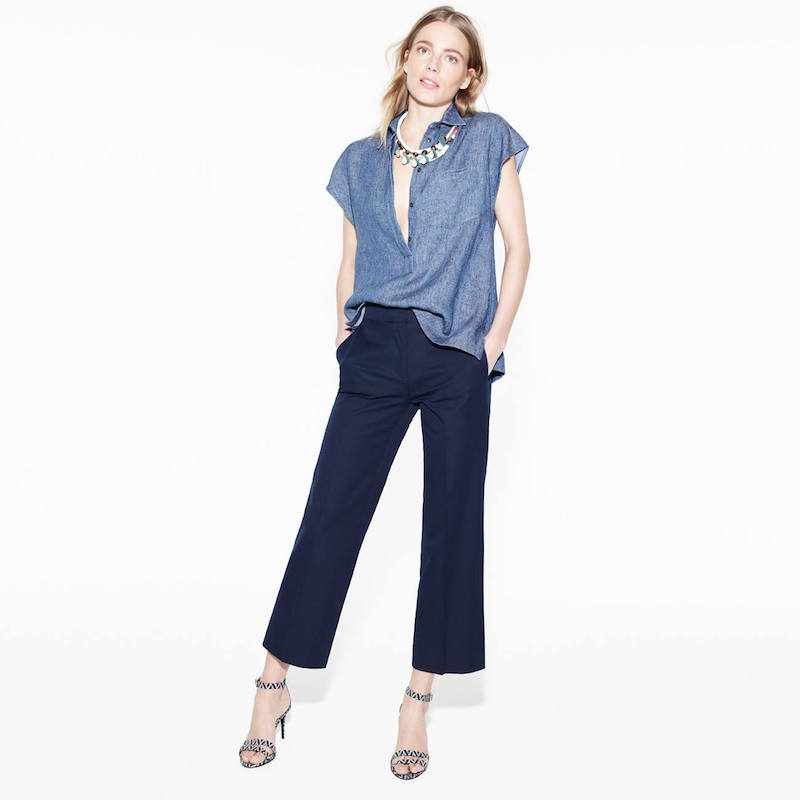 J.Crew Collection Italian Chambray Twill Popover