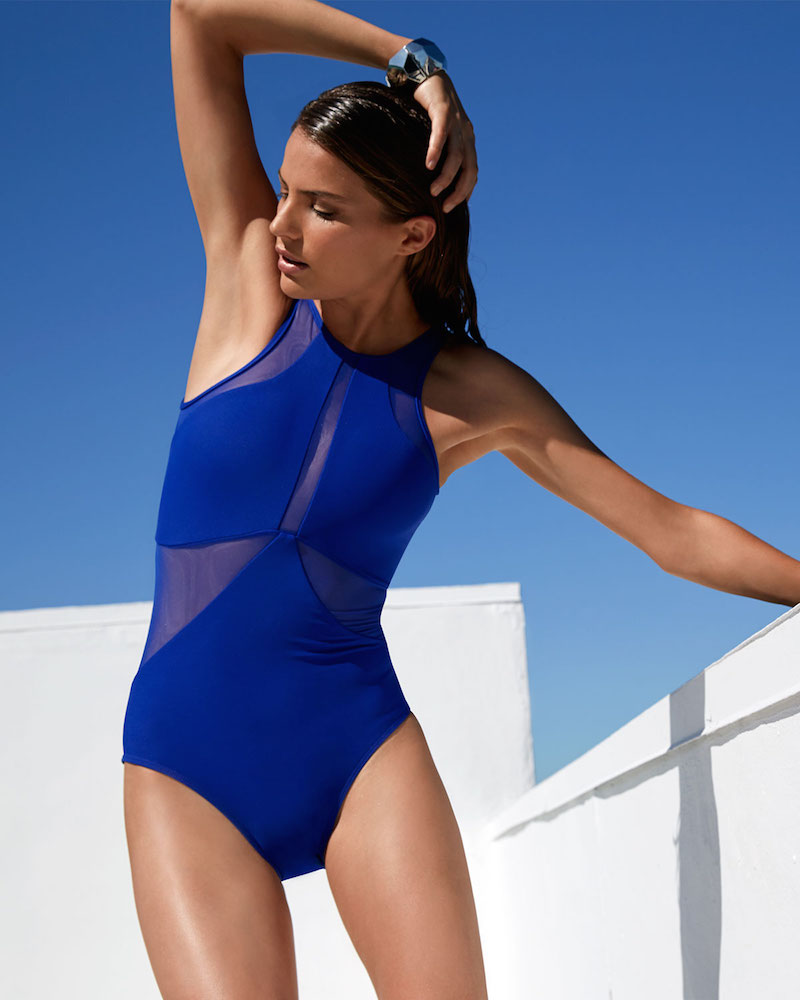 JETS by Jessika Allen High-Neck One-Piece Swimsuit with Mesh Inserts