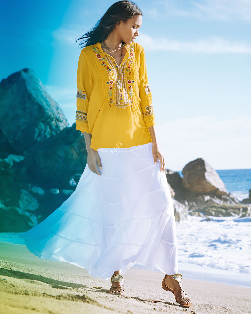 Johnny Was Collection Katrina Embroidered Georgette Tunic