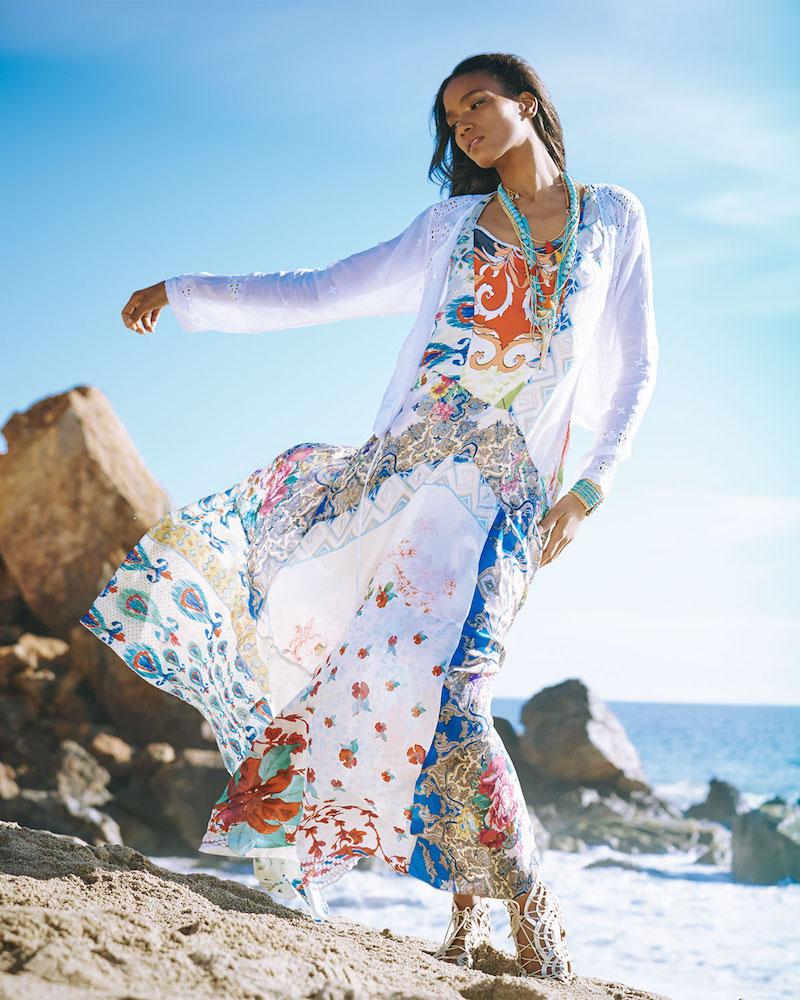Johnny Was Collection Sleeveless Garden-Print Maxi Dress