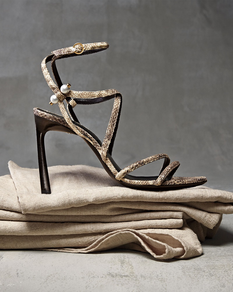 Lanvin Strappy Sandal with Pierced-Pearl Detail