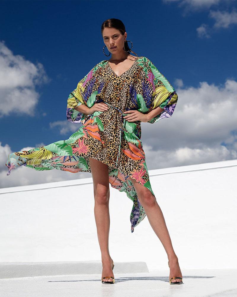 Lazul Gia Calypso-Print Tunic with Trapeze Hem