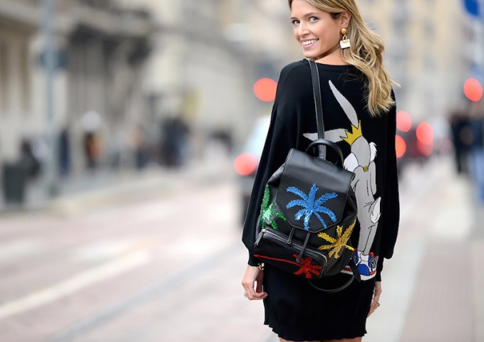 Les Petits Joueurs Freddy Palms Sequined Leather Backpack