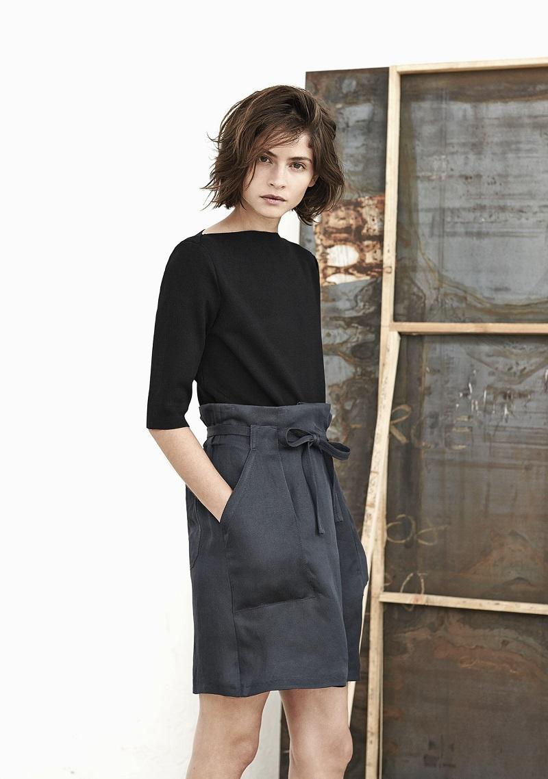Mango PREMIUM - Linen-blend bow skirt