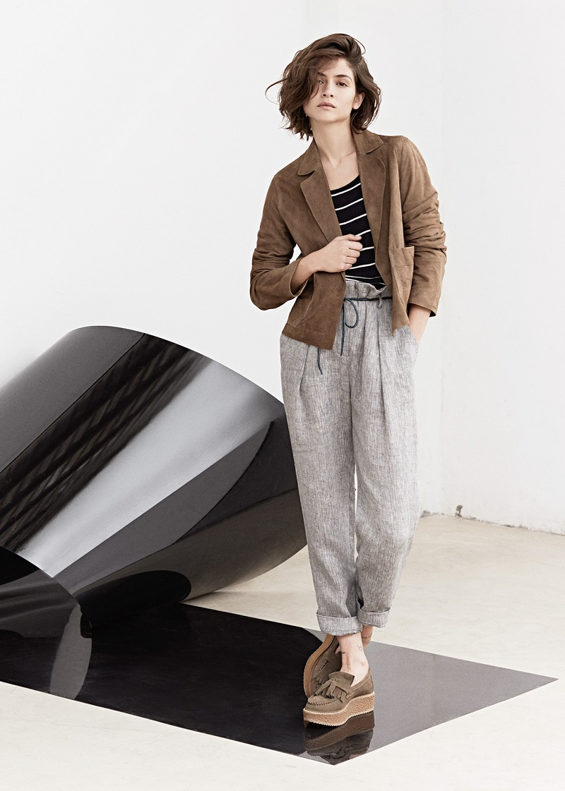 Mango PREMIUM - Linen high-waist trousers
