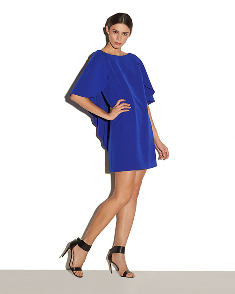 Milly Draped-Back Stretch-Cady Cocktail Dress
