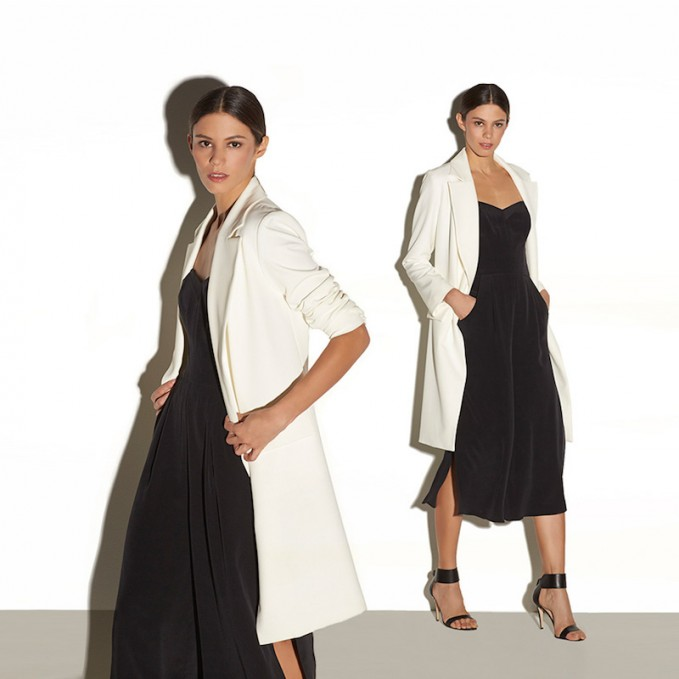 Milly Italian Cady Stretch Long Topper Jacket