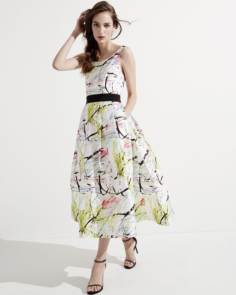Milly Sleeveless Scribble-Print Tea Dress