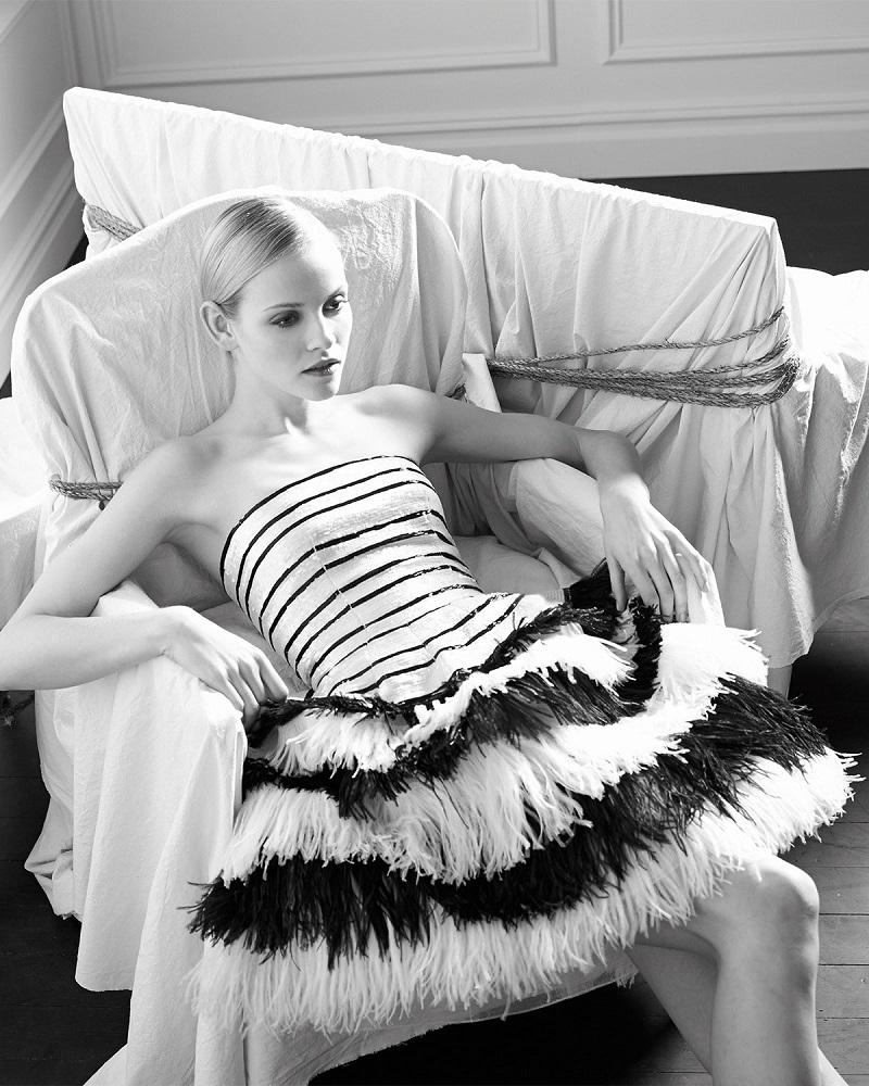 Oscar de la Renta sequined striped organza dress