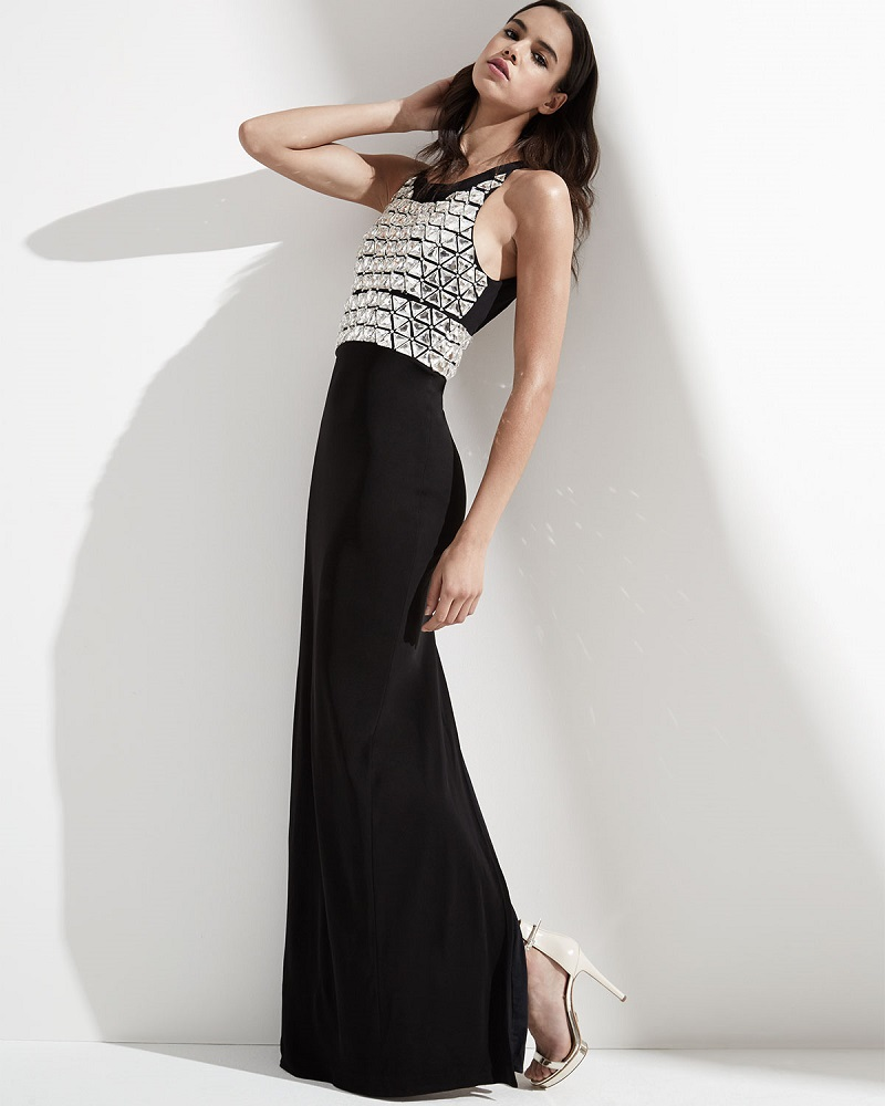 Parker Black Saldana Sleeveless Beaded-Bodice Gown