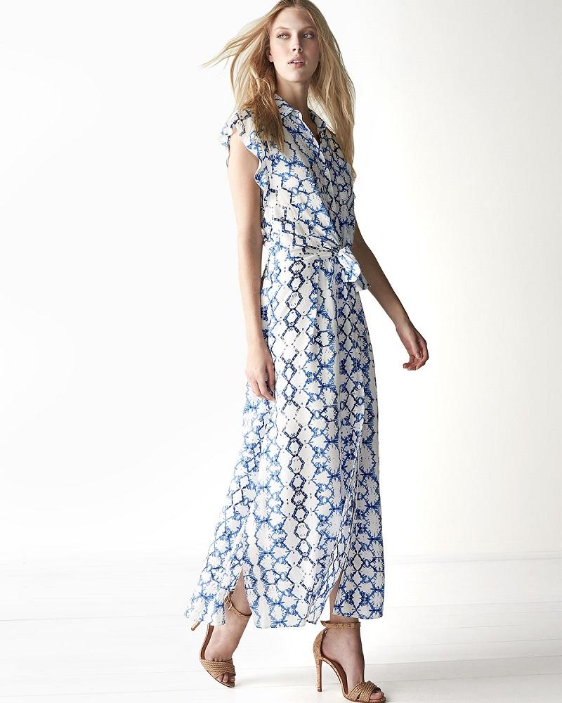 Rebecca Taylor Printed Flutter Sleeve Maxi Dress