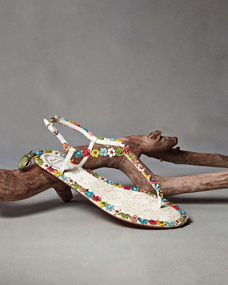 Rene Caovilla Lace & Floral Thong Sandal