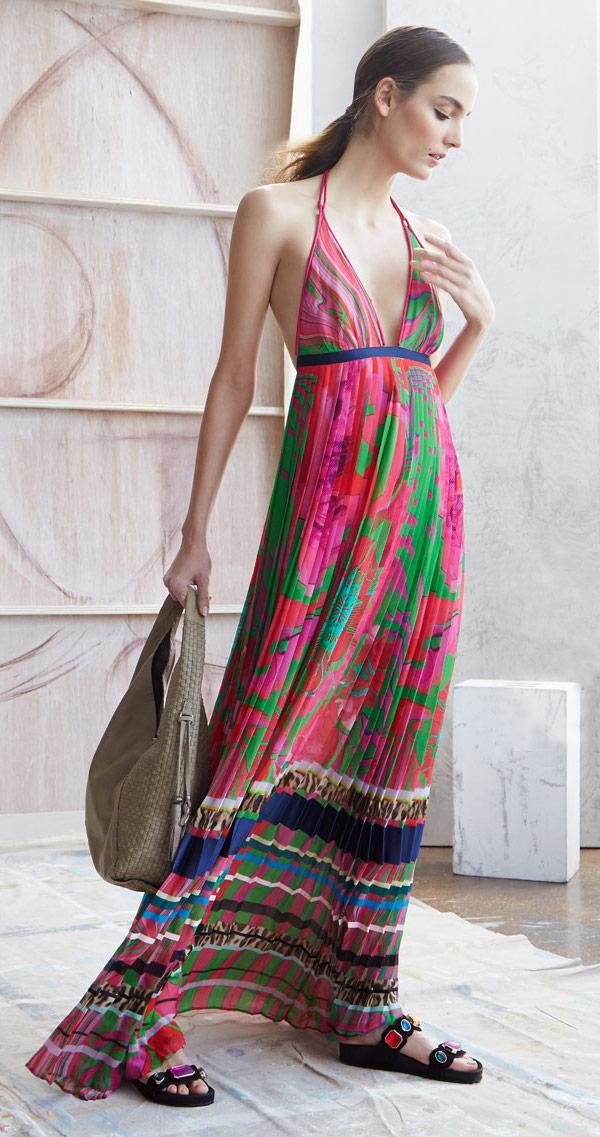 Roberto Cavalli Mixed-Print Striped Plisse Gown