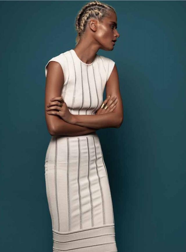 Ronny Kobo Kimberly Metallic Stripe Crop Top & Molly Metallic Stripe Skirt