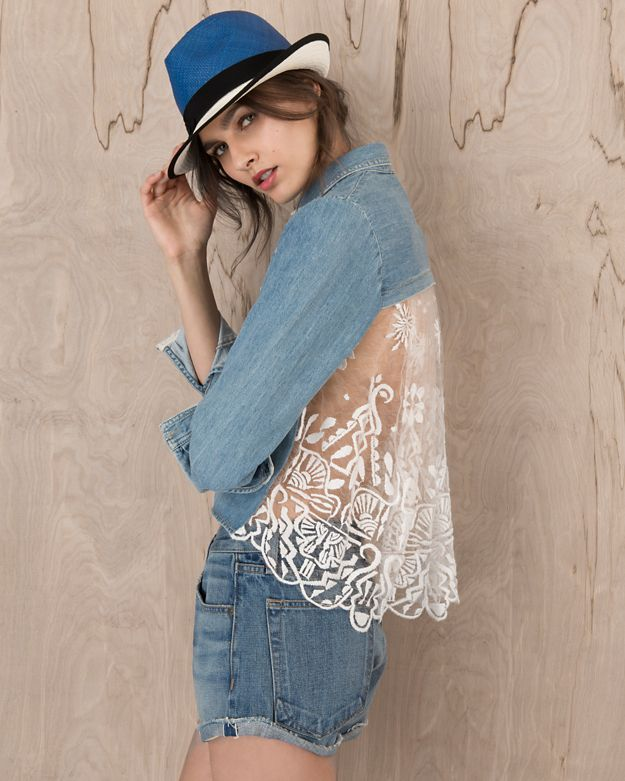 Sea EXCLUSIVE Lace Back Denim Shirt