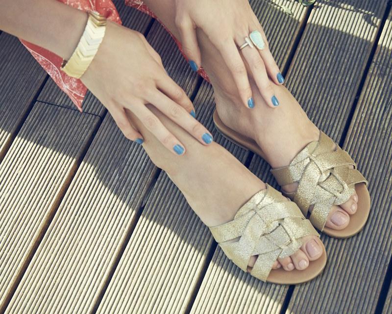 UGG Australia Chanez Metallic Leather Slide Sandal_1