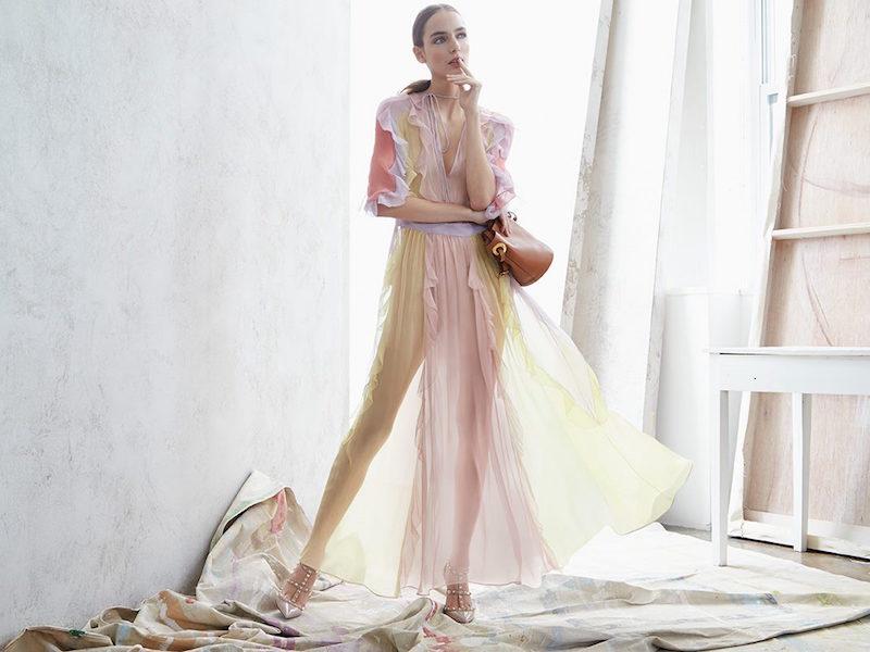 Valentino 3 4-Sleeve Ruffled Silk Chiffon Dress