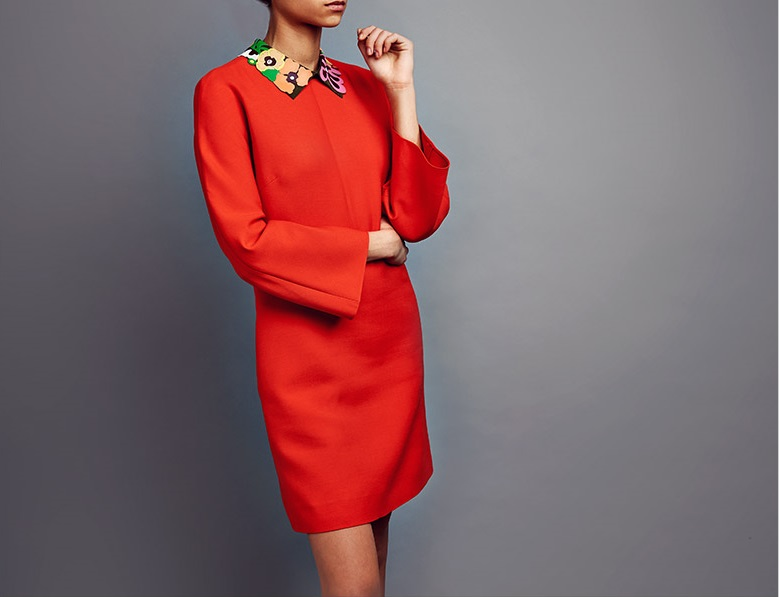 Valentino Crepe Couture leather-collar dress