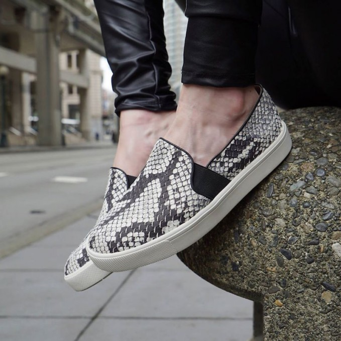 Vince Berlin Slip-On Python Embossed Leather Sneaker
