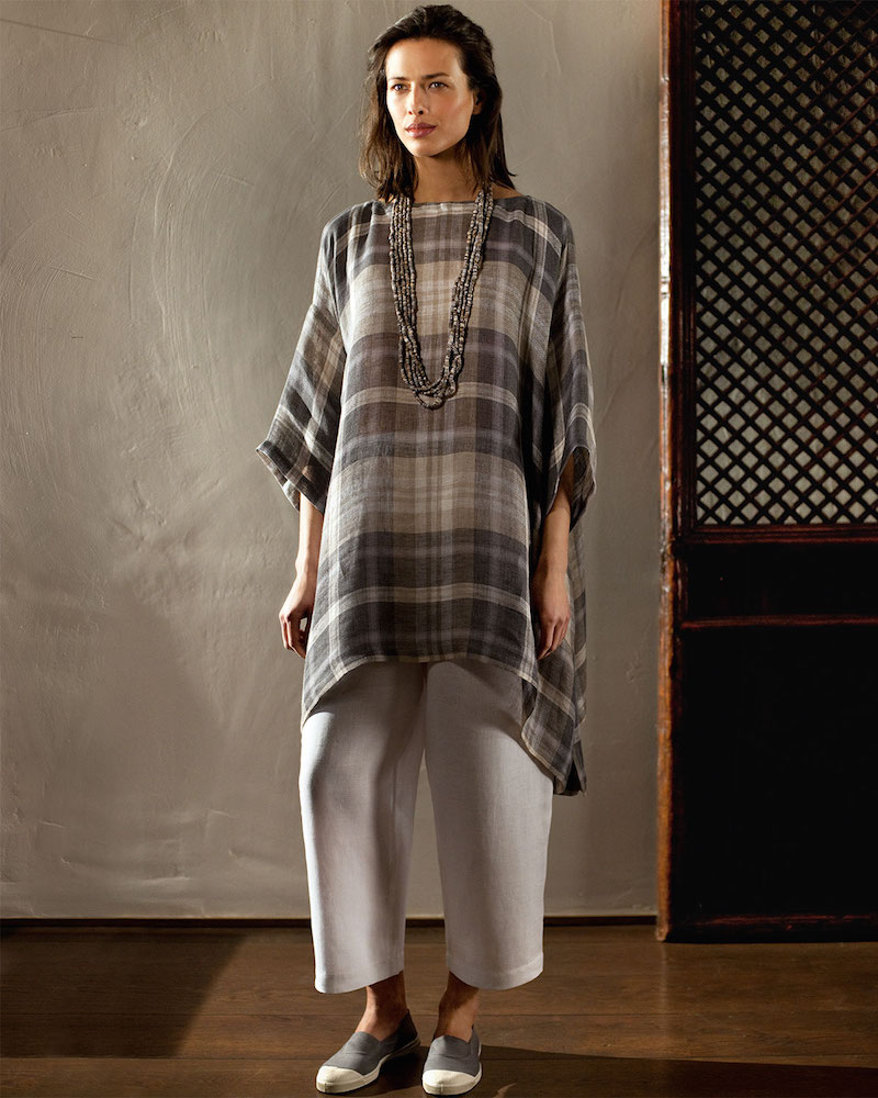 eskandar 3/4-Sleeve Plaid Tunic