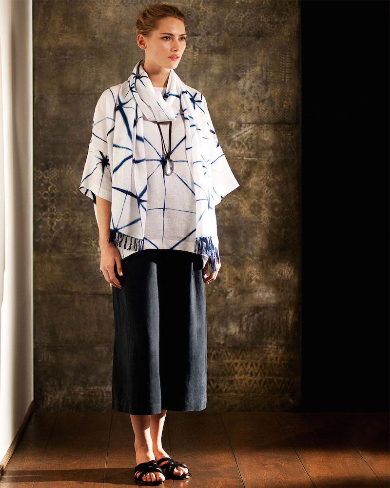 eskandar 3/4-Sleeve Tie-Dyed Tunic
